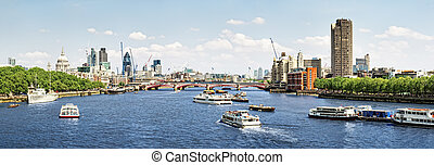City of London view from Waterloo Bridge. This view...