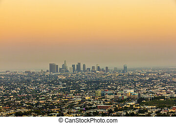 city of Los Angeles in sunset