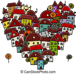 City of love, heart shape sketch for your design. Vector...