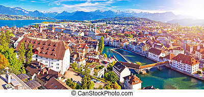 City of Luzern panoramic aerial sunset haze view