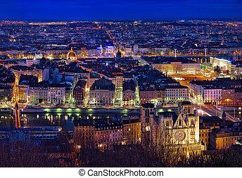 City of Lyon by night