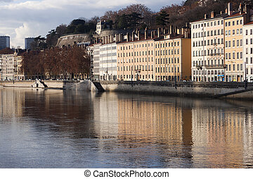 City of Lyon reflected in the saone