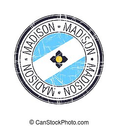 City of Madison, Wisconsin vector stamp - City of Madison, ...