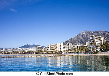 City of Marbella by the Mediterranean Sea in Spain