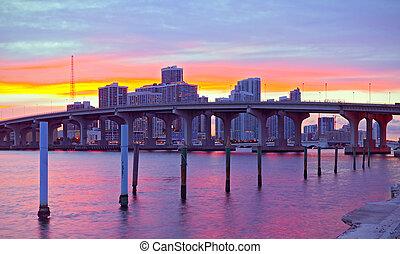 City of Miami Florida, night skyline.
