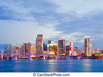 CIty of Miami Florida, summer sunset panorama with colorful...