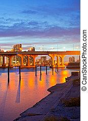 CIty of Miami Florida, summer sunset panorama