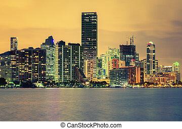 CIty of Miami, summer sunset
