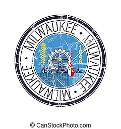City of Milwaukee, Wisconsin vector stamp
