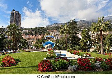 city of Monaco - garden and fountain near the Casino in ...