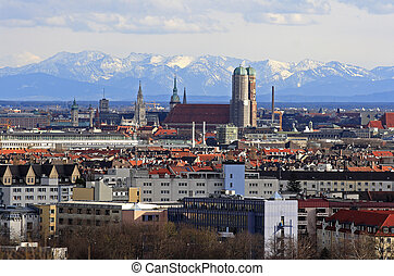 City of Munich with view of the alps