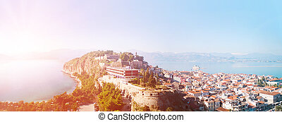 View from the Palmidi Fortress down to the old area of the city of Nafplion/Nauplia and the Argolic Gulf with the fortress island Bourtzi.