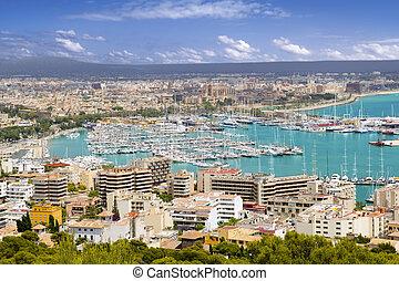 Aerial view of Palma de Mallorca in Majorca Balearic islands Spain