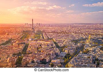 City of Paris. - Aerial image of Paris, France during golden...
