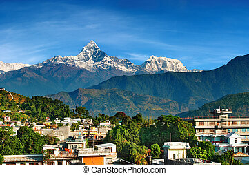 City of Pokhara, Nepal - City of Pokhara and mount...