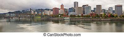 City of Portland Oregon in the Fall Panorama