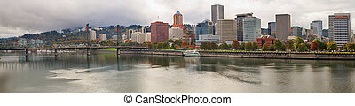 City of Portland Oregon in the Fall Panorama