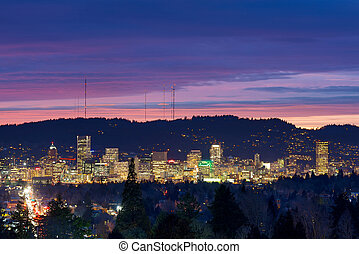 City of Portland Oregon Skyline at Twilight