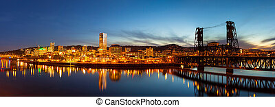 City of Portland Skyline Blue Hour Panorama