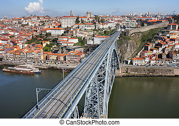 City of Porto in Portugal, Dom Luis I Bridge over Douro...