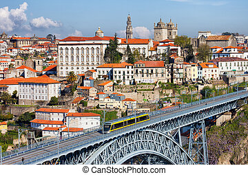 City of Porto in Portugal - Historic city centre of Porto in...