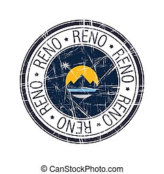 City of Reno, Nevada postal rubber stamp, vector object over white background