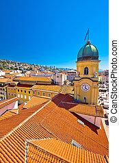 City of Rijeka clock tower and central square vertical view...
