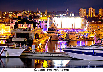 City of Rijeka yachting waterfront evening view, Kvarner...