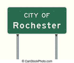 City of Rochester road sign - Vector illustration of the ...