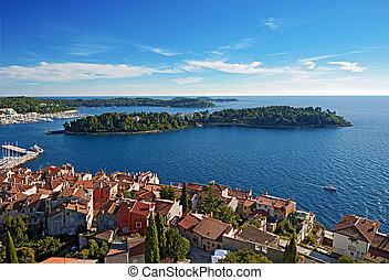 City of Rovinj - Ancient part of Rovinj in Croatia against...