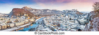 City of Salzburg in winter, Austria - Panoramic view of the...
