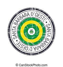 City of Santa Barbara d'Oeste, Brazil postal rubber stamp, vector object over white background