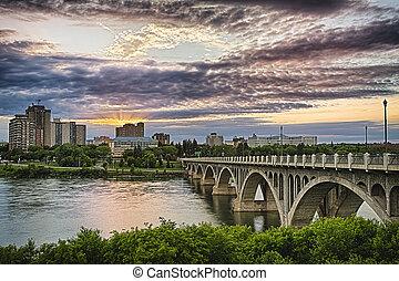 Cityscape of the city of Saskatoon in Western Canada along the South Saskatchewan River