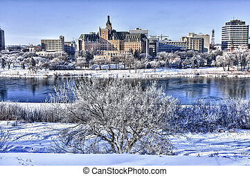 Hoarfrost covers the trees on a cold winter day in Saskatoon, Canada