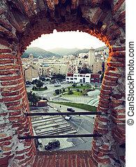 City of savona framed by the castle priamar