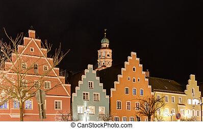 Illuminated town of Schrobenhausen during christmas time.