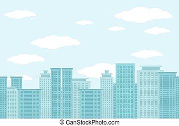 City of skyscrapers horizontal seamless pattern