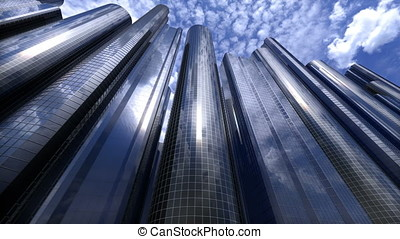 City of skyscrapers loop - Camera moves along the street in...