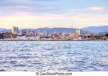 City of Sochi. Evening. View from the sea