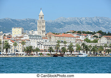 City of Split in Croatia with Birds Flying in the Sky