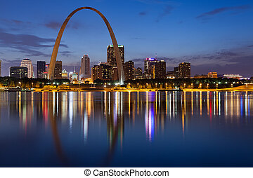 City of St. Louis skyline. - Image of St. Louis downtown...