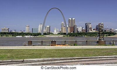 City of St. Lous with the Mississippi River - Rail tracks...