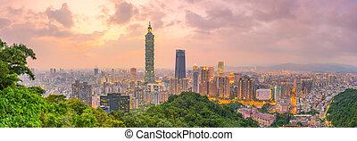 City of Taipei skyline at twilight
