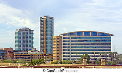 High rise buildings of business district, city of Tempe, AZ