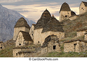 City of the dead in Dargavs. Caucasus, Russia
