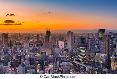 City of Umeda aerial view with sunset skyline