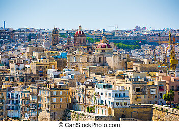 city of Valletta from high - beautiful view on houses and...