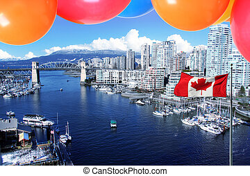 City of Vancouver - Balloons and the Canadian flag in front...
