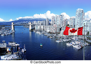 City of Vancouver - Canadian flag in front of view of False...