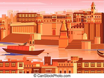 vector illustration of city of Varanasi with river ganges in India